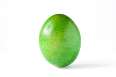 Close up of a green easter egg