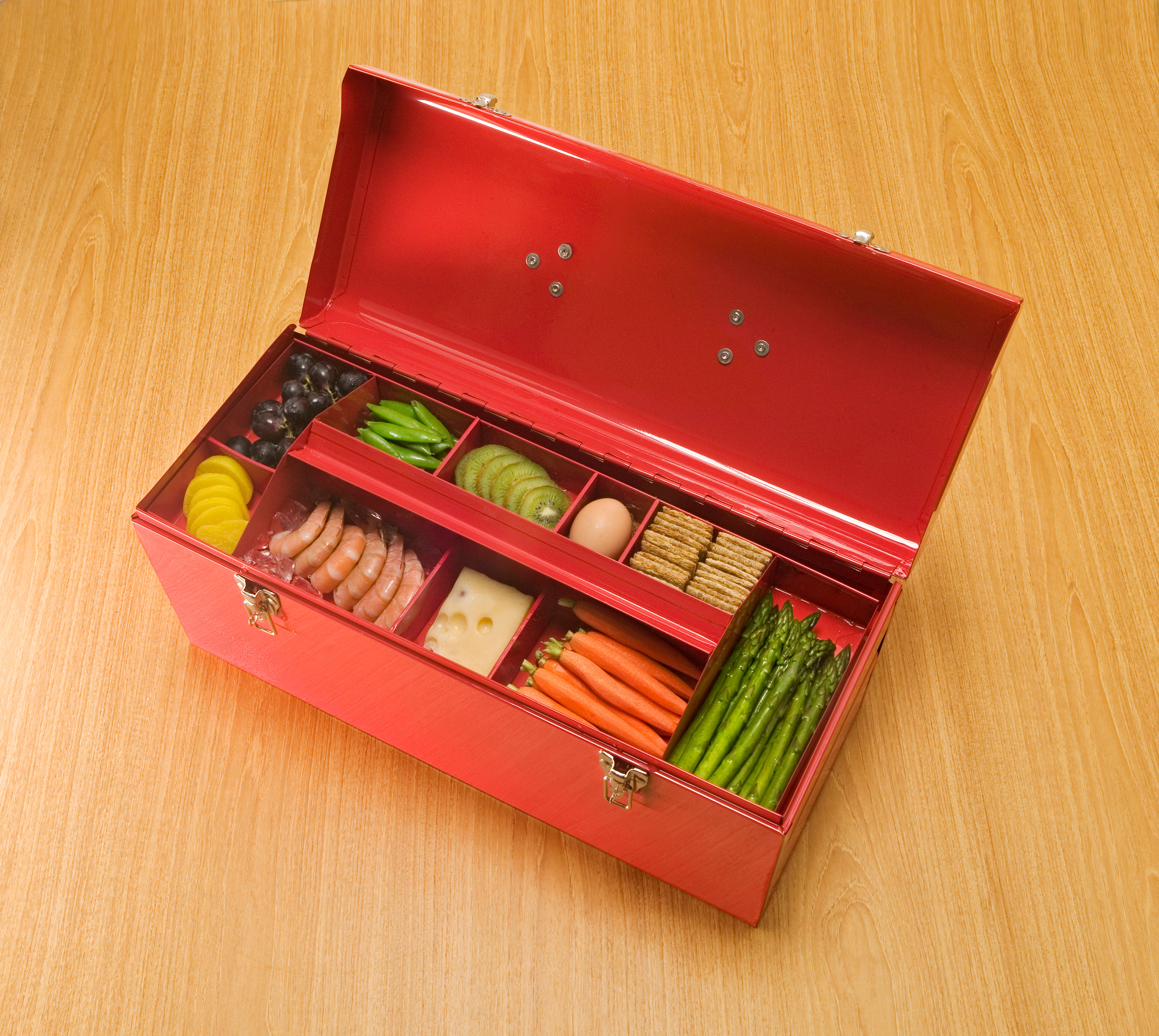 red tool box with food in top tray